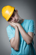 worker in helmet sleeps
