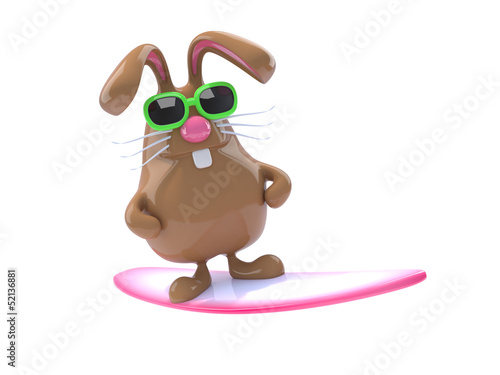 Chocolate bunny loves to go surfing