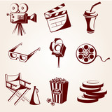 Set of cinema icons