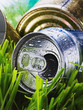crumpled aluminum can on a green grass