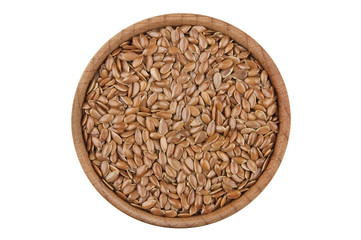 Flax seeds in wooden bowl isolated on white