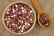 Multicolored pinto kidney beans mix
