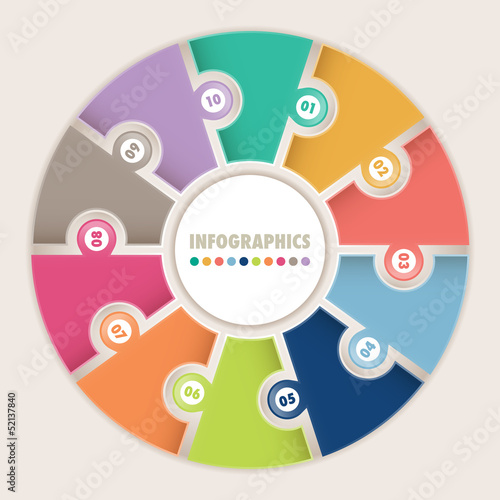 Infographics with ten options Circular puzzle