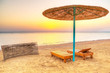 Holidays under parasol on the beach of Red Sea, Egypt