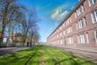 Amsterdam Buildings and tram railway in spring