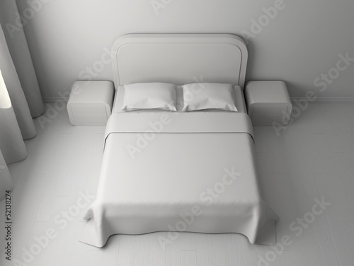 Double bed and bedside tables
