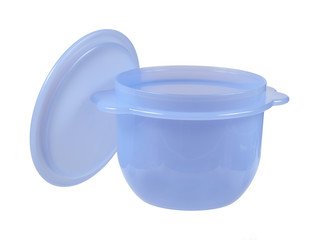 Plastic container with the lid open, isolated on white