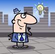 businessman with idea cartoon illustration