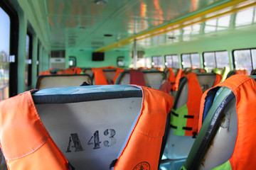 life vests on a ferry