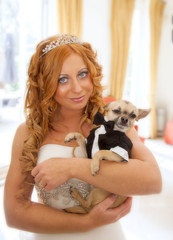 bride and her pet