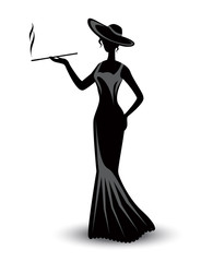 retro silhouette elegant smoking woman