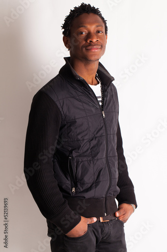 Handsome young black guy posing