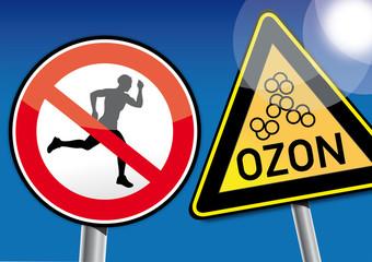 Achtung Ozon, kein Sport treiben, Warnung