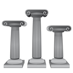 three ionic marble columns vector