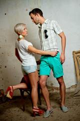 urban couple, man and woman posing