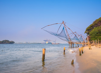 Kochi chinese fishnets in twilight in Kochi, Kerala. Fort Kochin