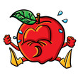 Funny crying cartoon apple