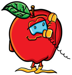 Funny cartoon apple with phone