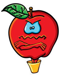 Funny cartoon apple in the bucket