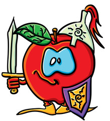 Funny cartoon apple is a knight