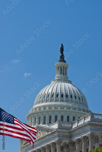 Washington DC Capital on deep blue sky background