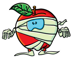 Funny cartoon apple is a  mummy