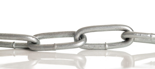 Silver metal chain on a background