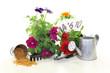 Langzeitdünger mit Gartenutensilien