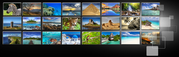 Streams of images with different holiday destinations