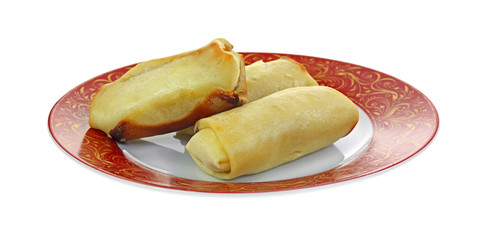 Cheese Blintzes Red Gold Plate