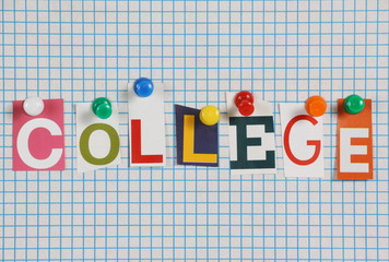The word College in magazine letters on graph paper