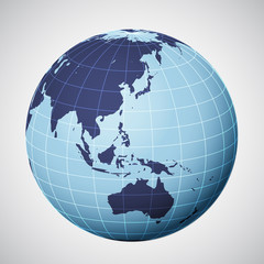 vector world globe in blue focused on asia