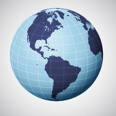 vector world globe in blue focused on america