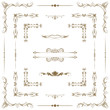 Vector set of gold decorative horizontal floral elements, corne
