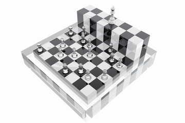 King and several pawns on chessboard.