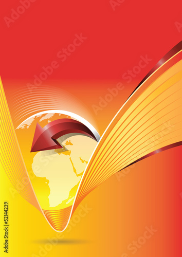 Vector abstract orange background with continents
