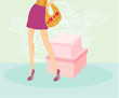 vector of women legs and handbag