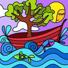 albero in barca