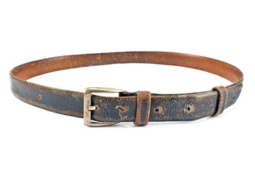 Old brown leather belt