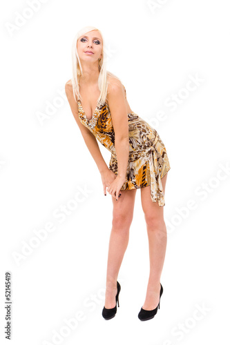 young woman wearing short sexy summer dress