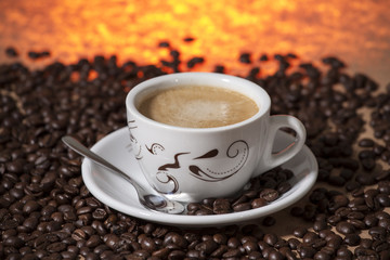 Cup of hot coffee.
