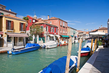 canals on murano island near venezia, italy
