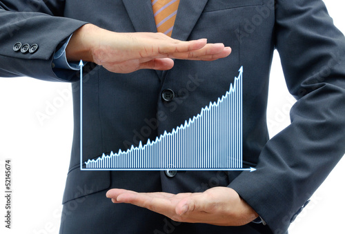 Business people hold graph isolated on white.