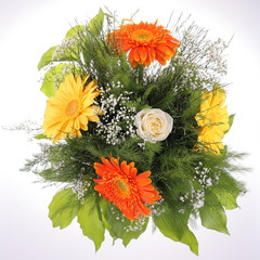 Bright bouquet, close-up. Rose and Gerbera flowers