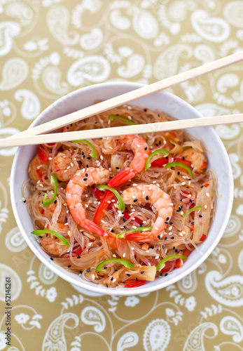 Rice noodles with shrimps