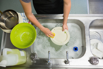 Overhead view of washing a plate