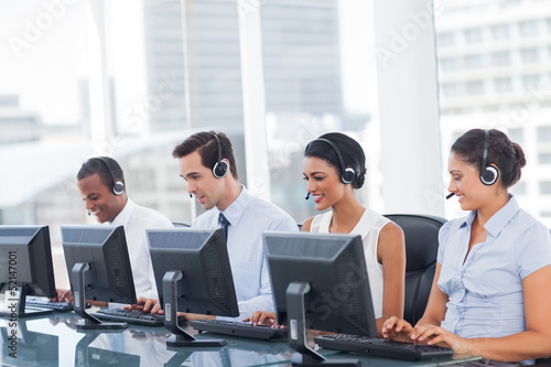Line of call centre employees