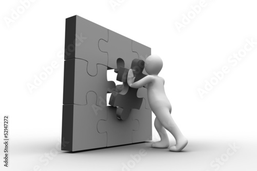 White human figure solving jigsaw puzzle