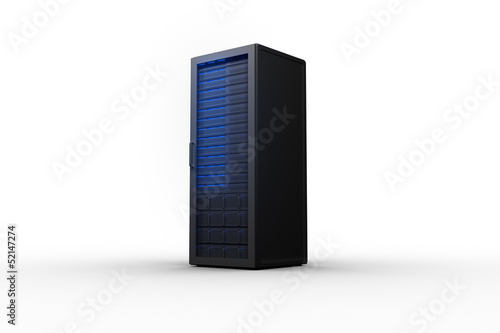 Rack of servers with blue lights