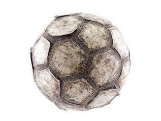 Old soccer ball with clipping path